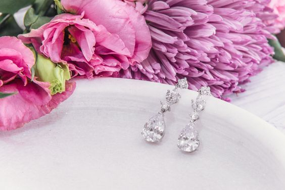 Bridal Earrings   Tiffany Crystal Drop Earrings by LITTLE WHITE COUTURE