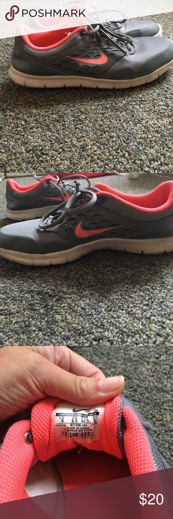 gray nike tennis shoes gray nike tennis shoes with orange nike sign, size 9 Nike Shoes Athletic Shoes