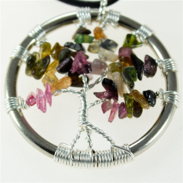 Tourmaline Tree of Life pendant with leather necklace  $35.00