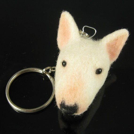 White Bull Terrier Keychain Fob  Needle Felted Dog Key door KaysK9s