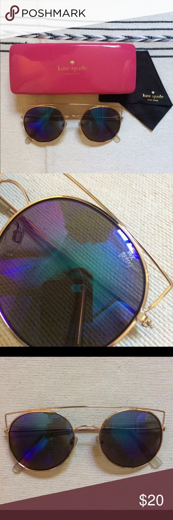 Betsy Johnson Cat Eye Sunglasses Iridescent lenses  Gold frame  Comes with Kate spade case and lense cleaner cloth Betsey Johnson Accessories Sunglasses