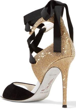3b9a2b1a691c5 René Caovilla Crystal-Embellished Suede Sandals by mel01