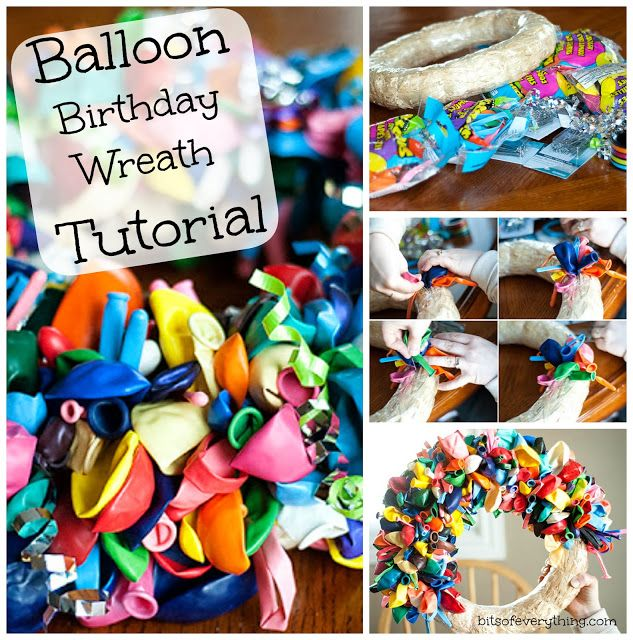 Balloon Birthday Wreath Tutorial! #wreath #birthday  blog.bitsofeverything.com