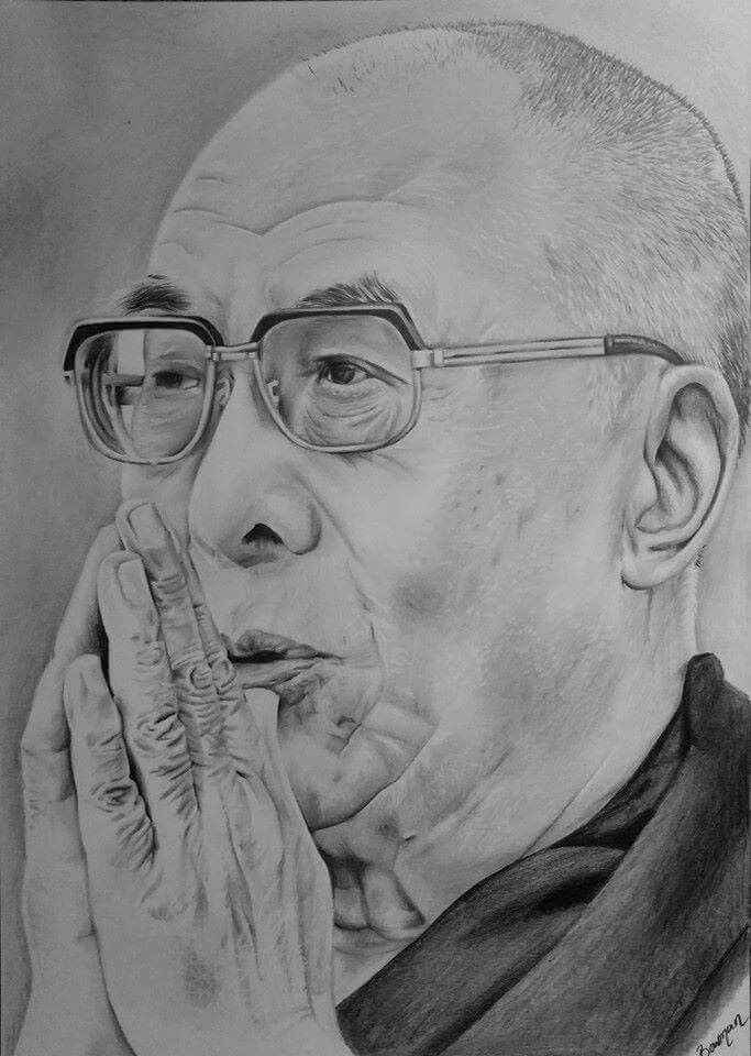 Dalai lama portrait by Katie Bowman www.personalartwork.co.uk