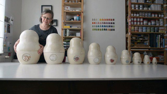 How do you visualize the human experience — courage, happiness, hope? Ceramicist Mitsy Sleurs (http://artmind.etsy.com) started with a Matryoshka doll and 99 emotions.  Read the Etsy blog post: http://etsy.me/99feelings.  Music: Jim Smith http://www.coilandmagnet.com