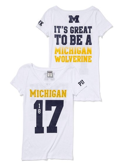 University of Michigan Bling Athletic V-neck Tee - Victoria's Secret Pink® - Victoria's Secret