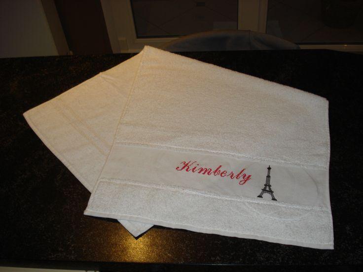 Handdoek met naam en Eifeltoren