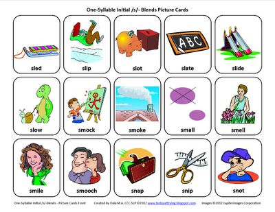 S-Blends (/sl/, /sm/, /sn/, /sp/, /st/): Free Speech Therapy Articulation Picture Cards - Re-pinned by @PediaStaff – Please Visit http://ht.ly/63sNt for all our pediatric therapy pins