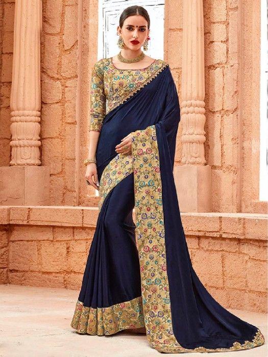 Navy Plain Crape Party Wear Saree, Plain sarees, Navy saree