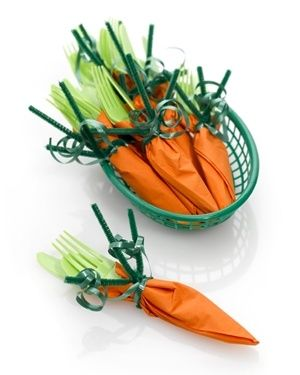 No Spring table is complete without these adorable carrot napkin wraps. Assembly is easy for any age, kids to seniors.   Put them on a buffet, or on your table, one wrap at each place setting or the basket in the middle. Festive for Easter, Mothers Day, or any Spring event.