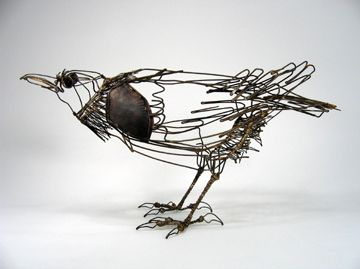 """My work is a combination of drawing and sculpture . Using a wire line both to describe and to suggest form and texture , and to evoke character ."" wire sculptures by Thomas Hill"