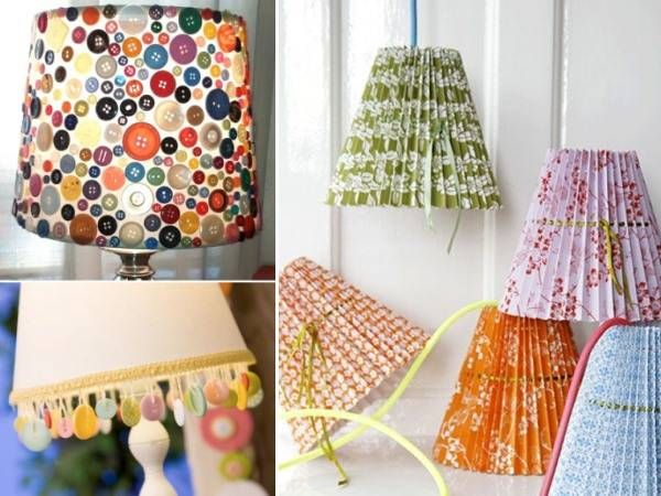 Самодельные абажуры из пуговиц, текстиля и бумаги
