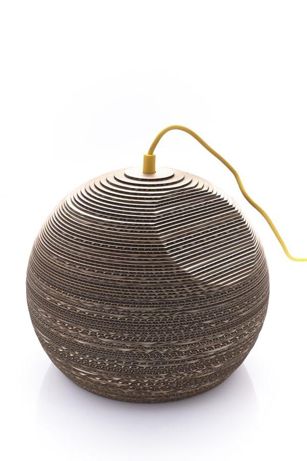 Cardboard lamp concept - entry for competition by Ulrik Rosenørn, via Behance
