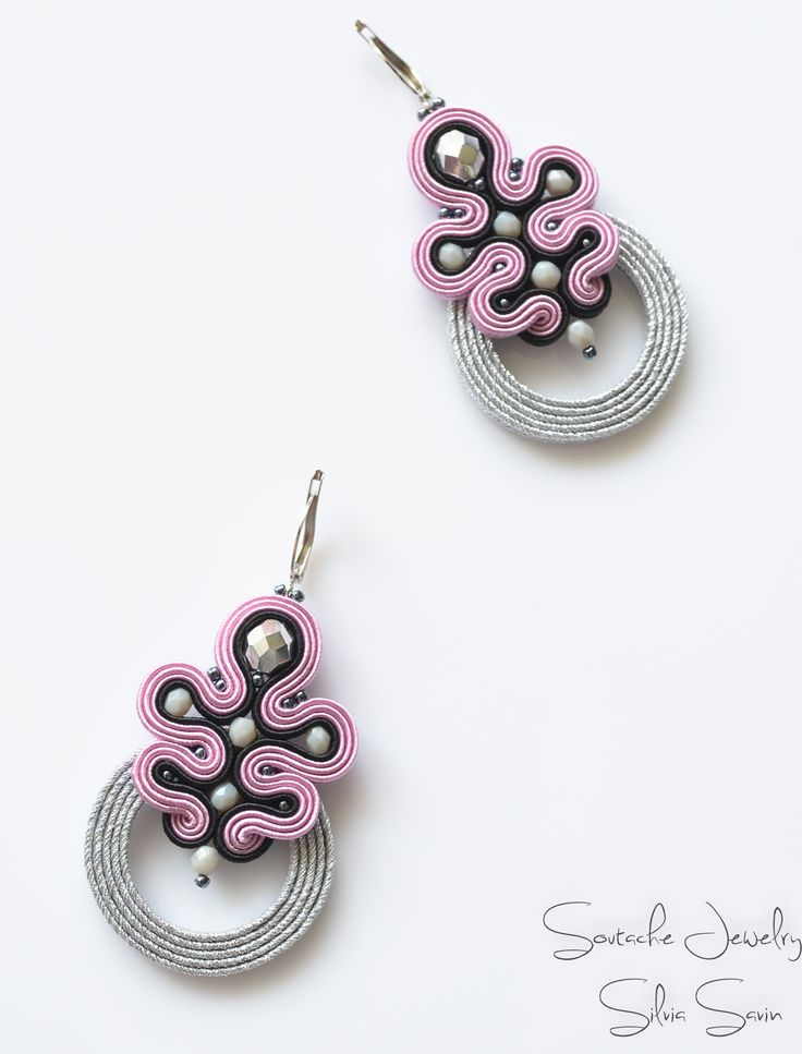 Pink / Silver / Black Handmade Soutache earrings