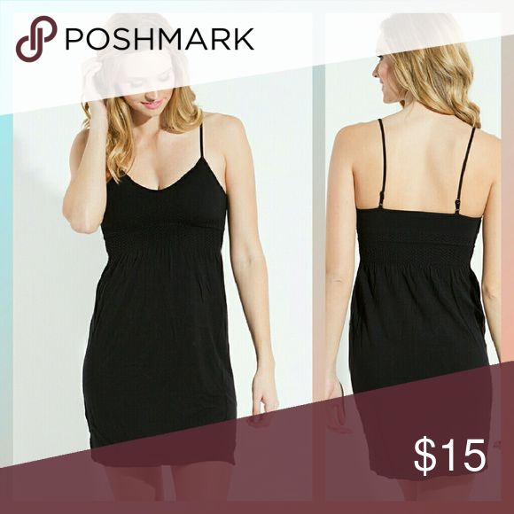"Black Tunic Length Seamless Camisole BNWOT, would probably fit anywhere from a small to large! Bought at a local boutique. Brand is called ""SugarLips."" Smoke and pet free home. No trades, please! Boutique Tops Camisoles"