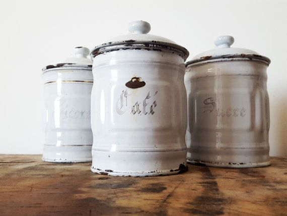 1930's vintage French white and gold enamelware for the farmhouse kitchen.