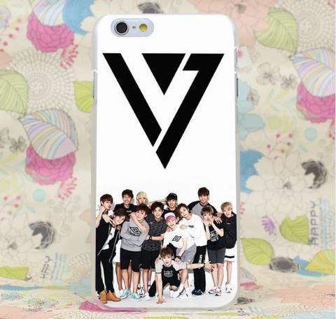 SEVENTEEN Kpop Boy Group Black Logo Unique iPhone 5 6 7 Plus  #SEVENTEEN #Kpop #Boy #Group #Black #Logo #Unique #iPhone5 #6 #7Plus