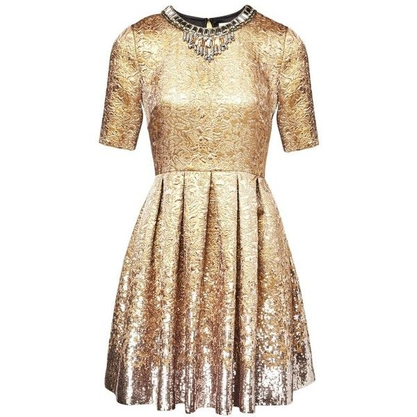 Matthew Williamson Gold Jacquard Sequin Dress ($1,460) ❤ liked on Polyvore featuring dresses, gold, short, gold beaded dress, beige dress, short sequin dress, beige cocktail dress and short cocktail dresses