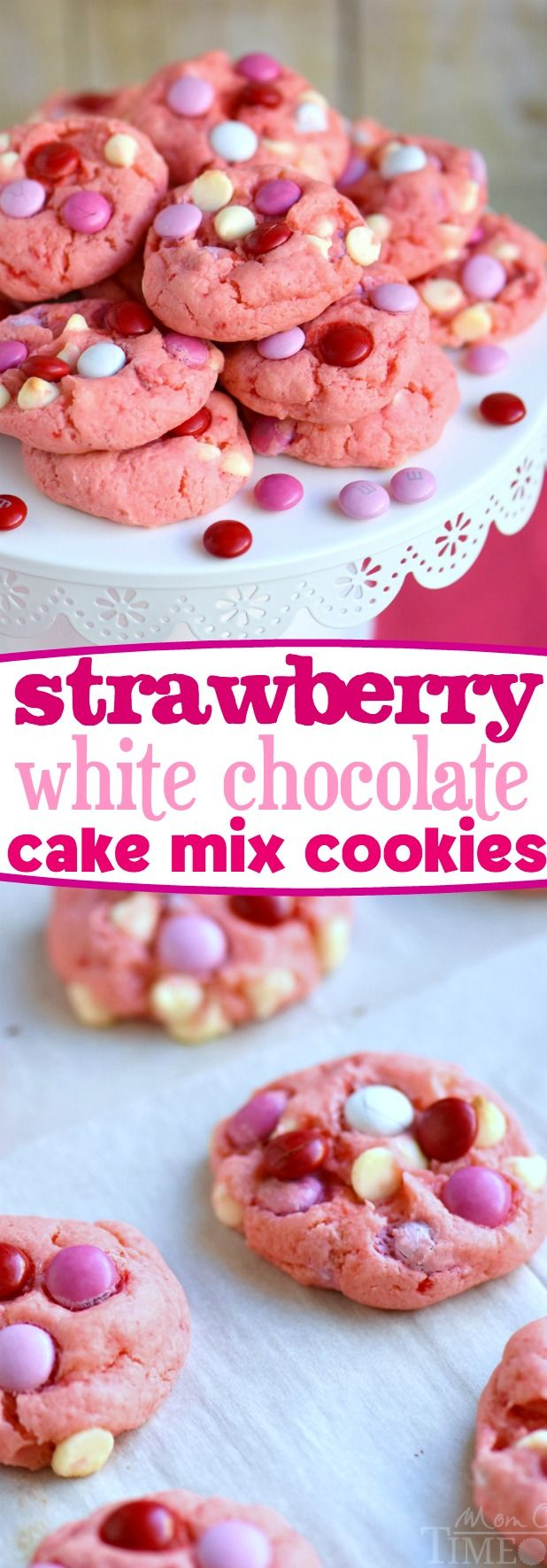 Super moist and delicious Strawberry and White Chocolate Cake Mix Cookies! This recipe uses a SECRET INGREDIENT for the moistest cookies EVER! So pretty and pink! Perfect for Valentine's Day, baby showers and more! // Mom On Timeout: