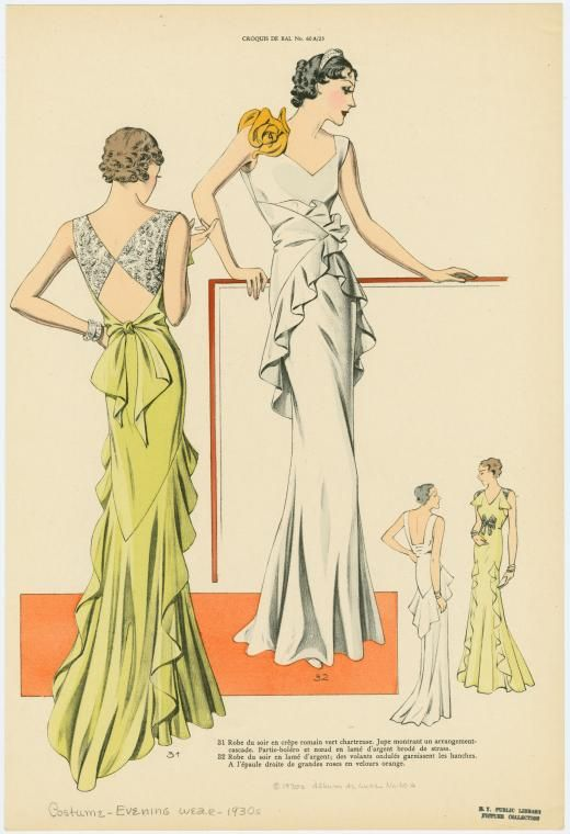 [Two women wearing formal evening gowns, front and back views.]