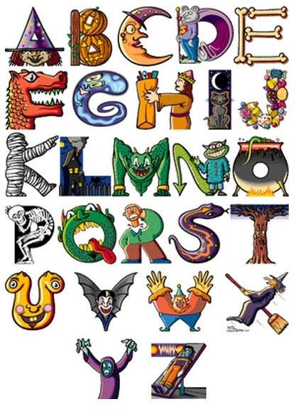 Graffiti Alphabet Letters Cartoon Characters
