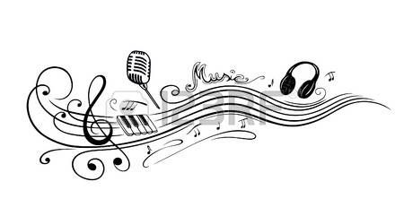 Notenschl ssel mit Musiknoten Mikrofon und Klavier Lizenzfreie Bilder