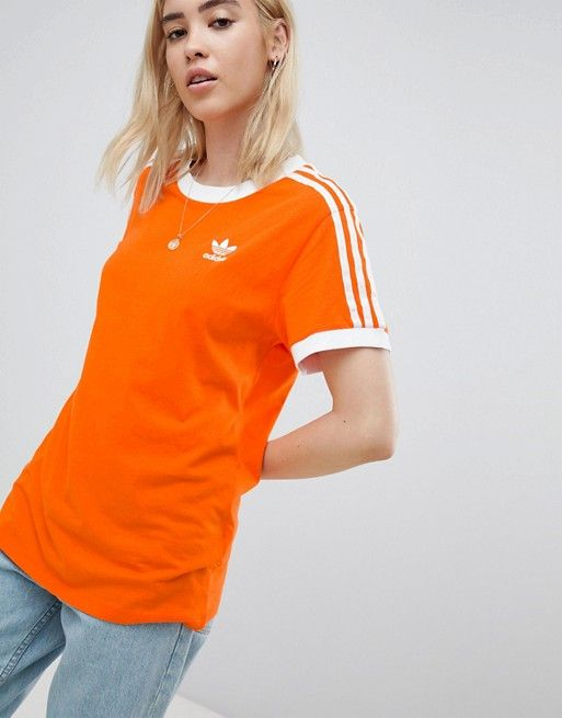 5c71b3e8f82 adidas Originals 3 Stripe Ringer T-Shirt In Orange | Fashion | Adidas,  Adidas originals, Orange shirt