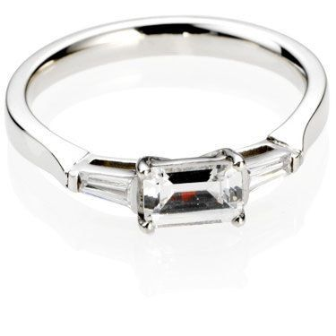 """East - West"" setting - Emerald Cut Trilogy Diamond Engagement Ring"