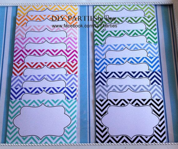 Candy buffet jar labels - rectangle - chevron. Find us on Facebook: www.facebook.com/DIYParties