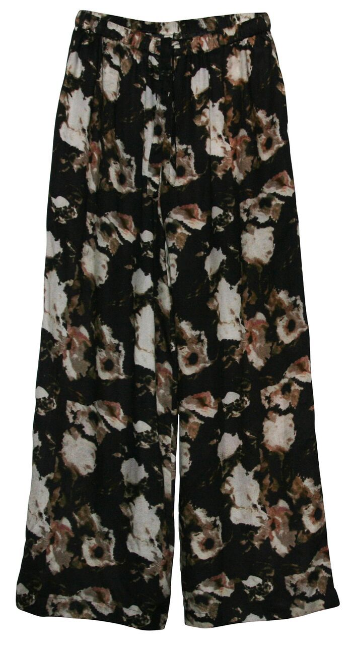Pants with waist ties in an abstract floral print, made in a lyocel crepe quality.