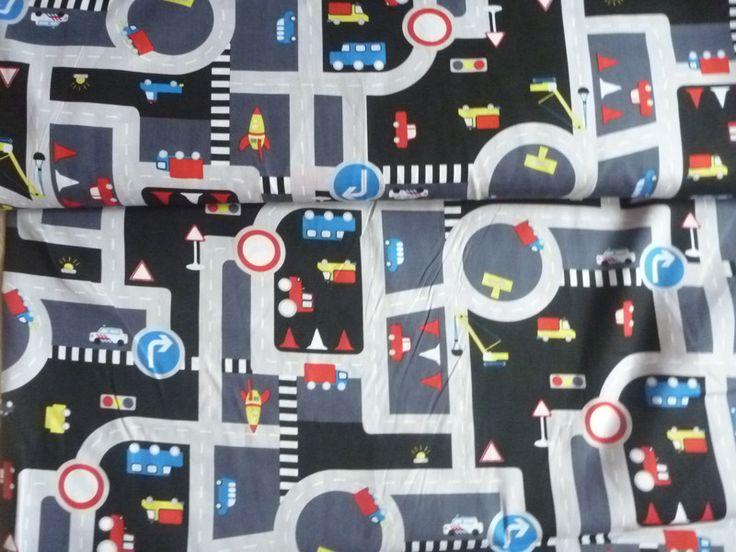 Stoff Autos - Baumwollstoff Meterware Kinderstoff Straßen grau - ein Designerstück von Sonni-Mami bei DaWanda