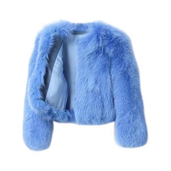 G.V.G.V. Fox Fur Short Jacket ($3,535) ❤ liked on Polyvore featuring outerwear, jackets, coats, tops, blue fox fur jacket, short-sleeve jackets, blue jackets and fox fur jacket
