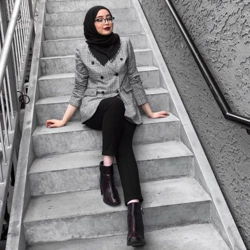 checked blazer hijab-Street style inspirations for hijab – Just Trendy Girls