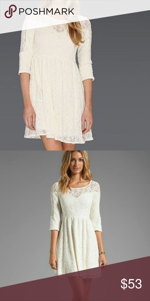 Free People White Sheer Floral Lace Boho Dress L Free People Women's  Lace Crochet Skater Mini Dress Sheer double layer lace dress Boho Romantic Feminine skirt bottom Color: ivory cream Size:  L large Please see pictures for material and approx. measurements flatlay, relaxed Gently preowned condition with no stains, rips, or holes  offer welcome or bundle & save!  013018 Free People Dresses