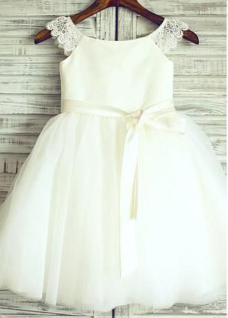 In Stock Beautiful Satin & Tulle Scoop Neckline Ball Gown Flower Girl Dresses With Lace Appliques & Handmade Flowers - Adasbridal.com