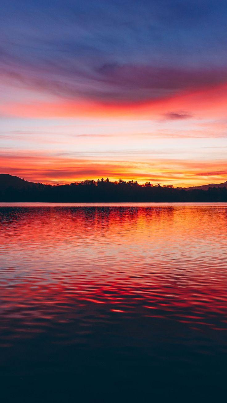 Lake, sunset, horizon Sky aesthetic, Sunset wallpaper