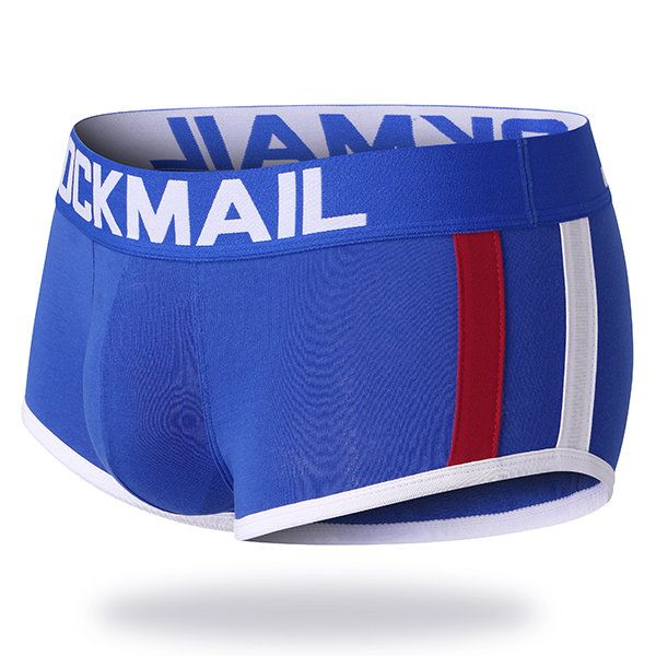 JOCKMAIL Sexy Cotton U Convex Patchwork Striped Breathable Boxer Underwear for Men