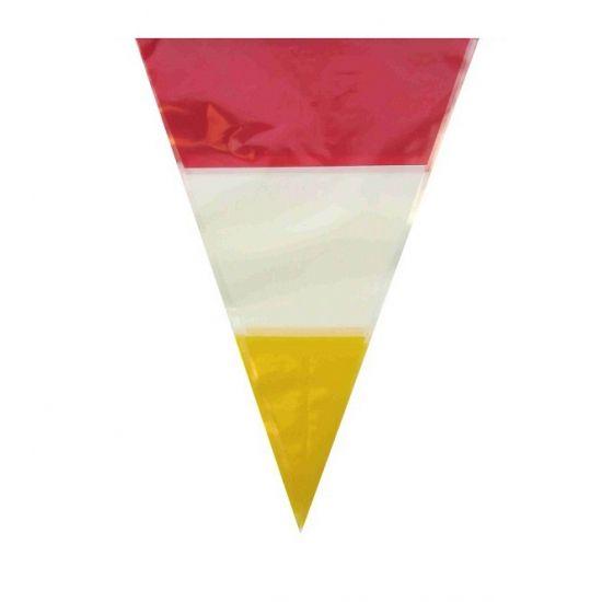 Plastic vlaggenlijn in de kleuren rood, geel en wit. 10 Meter lang.