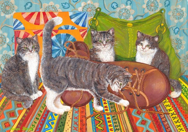 Hoksotin | A free digital jigsaw puzzle: Cats are playing with shoes.