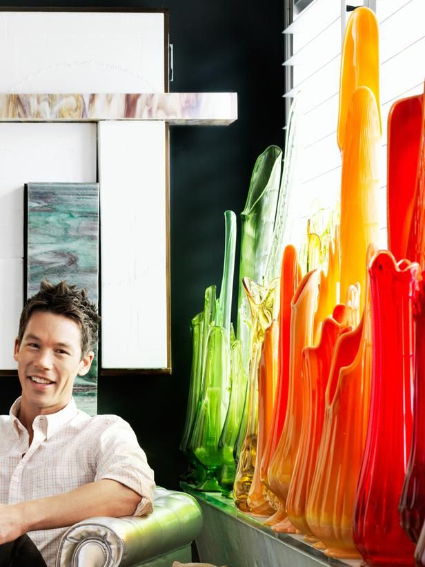 """David Bromstad - """"My grandmother died a few months after we bought this place, and I got a little midcentury Viking glass bowl that belonged to her. I did some research and found tons of vases like it on eBay. I thought, 'I have to do an installation!' It looks like I've been collecting them for years, but I actually got them all in about three months. They are my pride and joy."""""""
