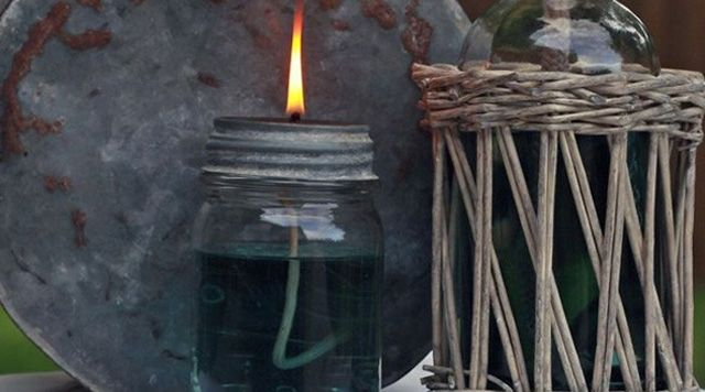 DIY Mason Jar Oil Lamp Lantern Craft Tutorial for Indoors or Outdoors