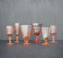 Pink glass vintage goblets