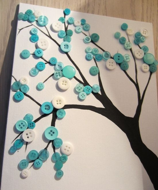 I want to do this on my kids bedroom wall button tree– how fun would it be to do a series of four (1 for each season: the blue and white as shown for winter, shades of pink/yellow for spring blossoms, shades of green for summer leaves, and warm tones for autumn leaves-even have a few falling) for a bedroom @ DIY Home Ideas