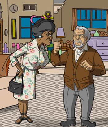 "Esther how would you like  ""five across the lips""?? Artwork of the Classic TV show Sanford and Son with Fred Sanford and Esther Anderson."