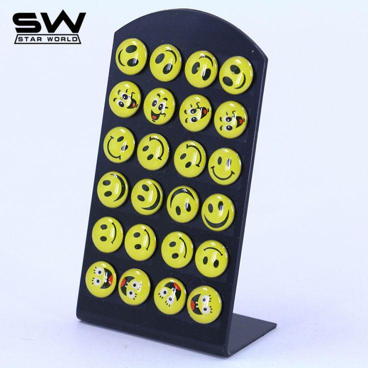 STARWORLD 12 paar/satz Mode Emoticons Runde Gelbes Glückliches Gesicht Emoji Ohrringe Nette Lustige Smiley Ohrstecker Set