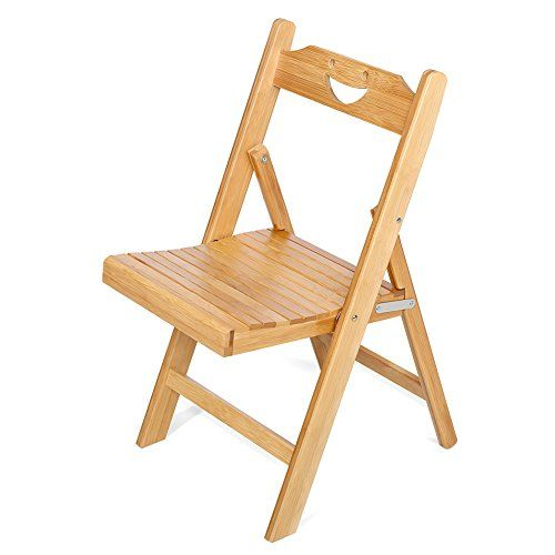 Portable Bamboo Folding Chair, Foldable Desk Chair And Seat For Children /  Adults, Natural