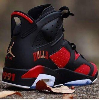 shoes black retro 6 jordan custom jordan's jordans retro jordans air jordan custom jordans custom shoes sneakers red chicago chicago bulls dope jordan 7 1991