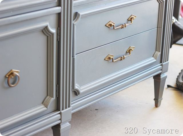 Spray painted dresser makeover spray painting furniture for Spray paint makeovers