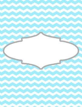 Cute Binder Template Pages - Blue Chevron  Teaching Organization