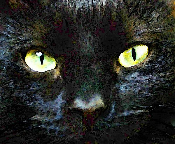 Mystery - Good Fortune Black Cat Art Painting by Sharon Cummings - #faabest #Cats